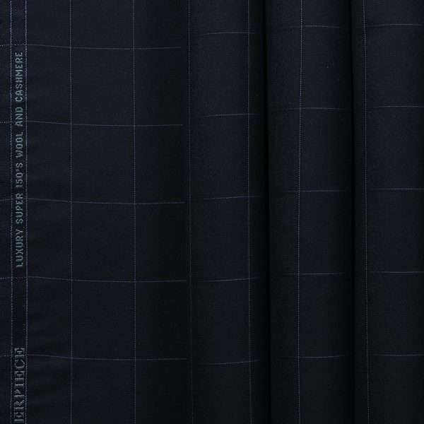10013 Navy Blue with Purple Windowpane Check