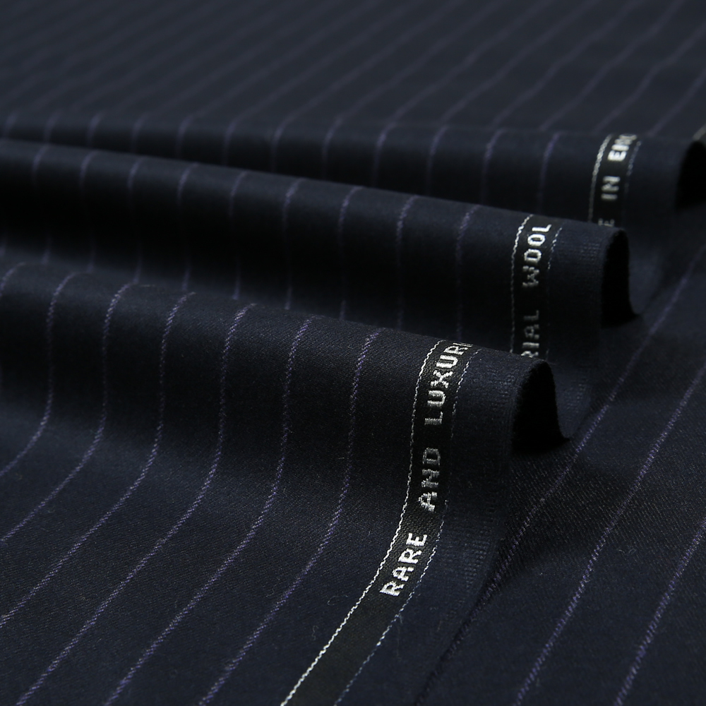 12048 Navy Blue Coloured Chalk Stripe Flannel