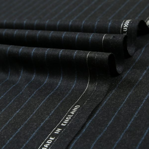 12049 Charcoal Grey Coloured Chalk Stripe Flannel