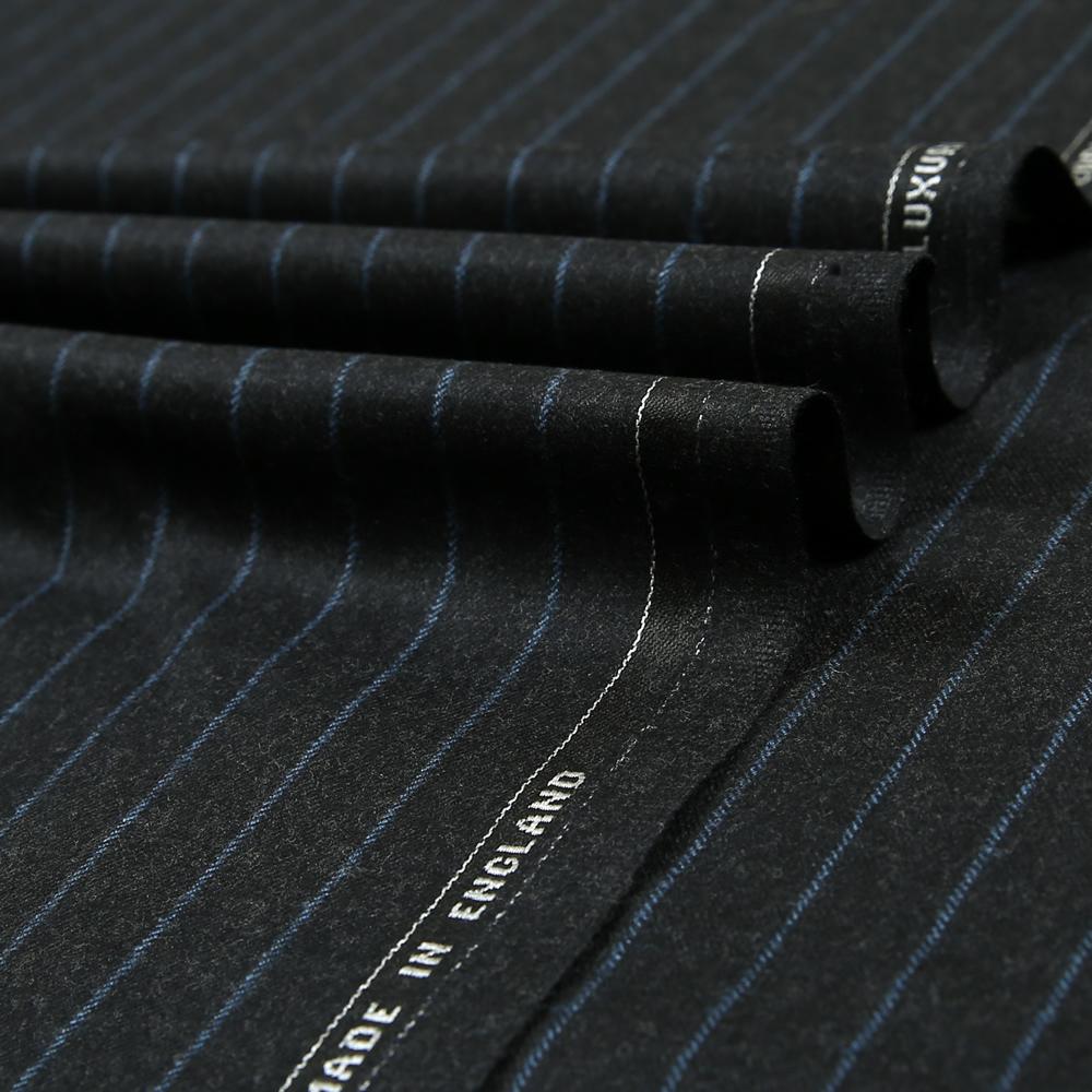 12049 Charcoal Grey Coloured Chalk Stripe Flannel