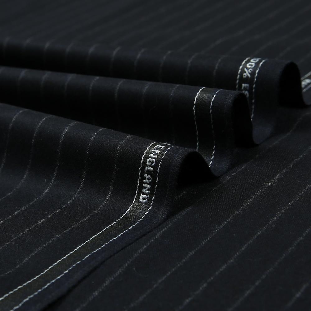 14012 Navy Blue Chalk Stripe Flannel