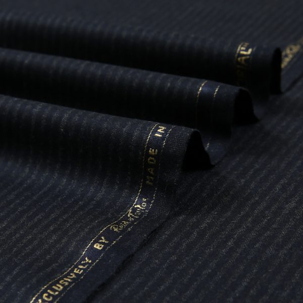 14013 Navy Blue Narrow Chalk Stripe Flannel