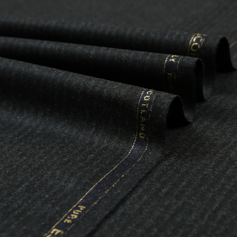14015 Charcoal Grey Narrow Chalk Stripe Flannel