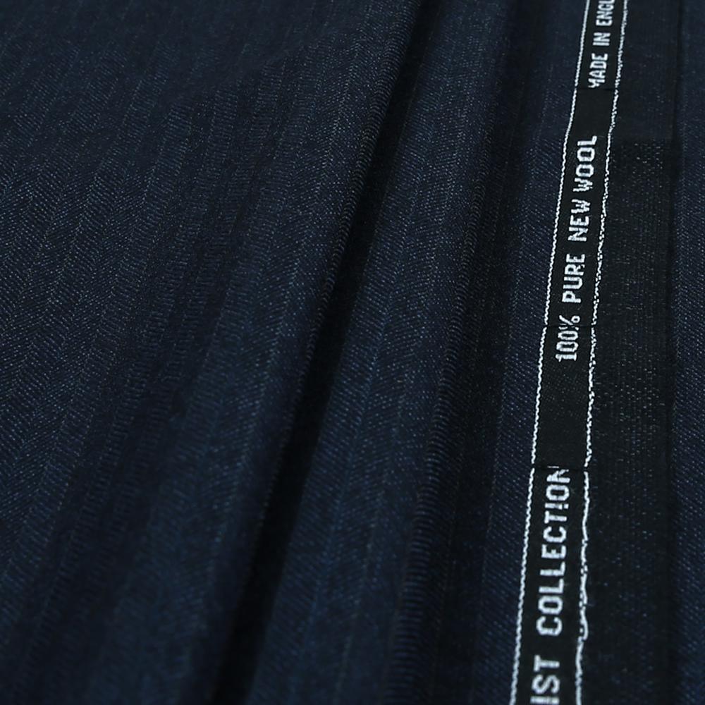 15006 Navy Blue Herringbone with Coloured Stripe