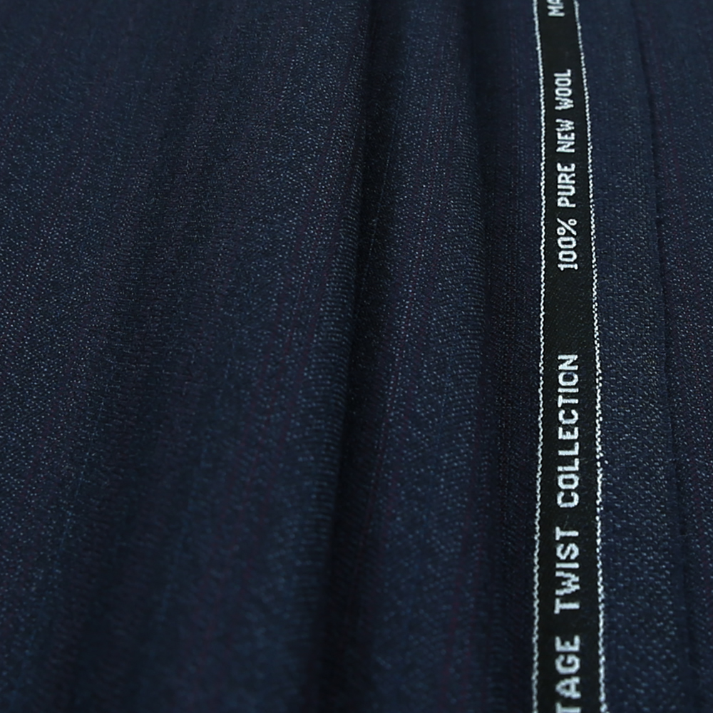 15011 Royal Blue Herringbone with Fancy Coloured Stripe