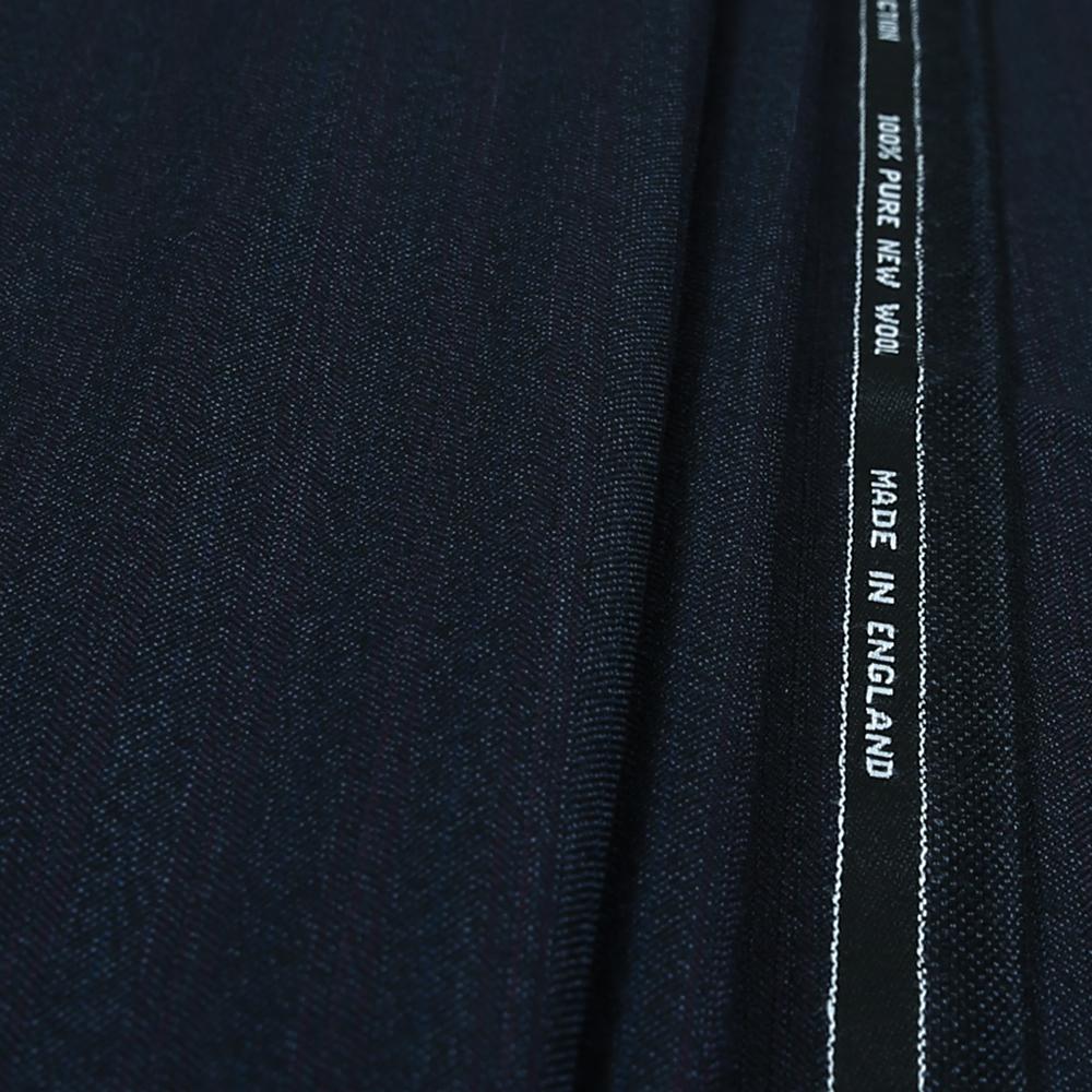 15012 Navy Blue Herringbone with Fancy Coloured Stripe