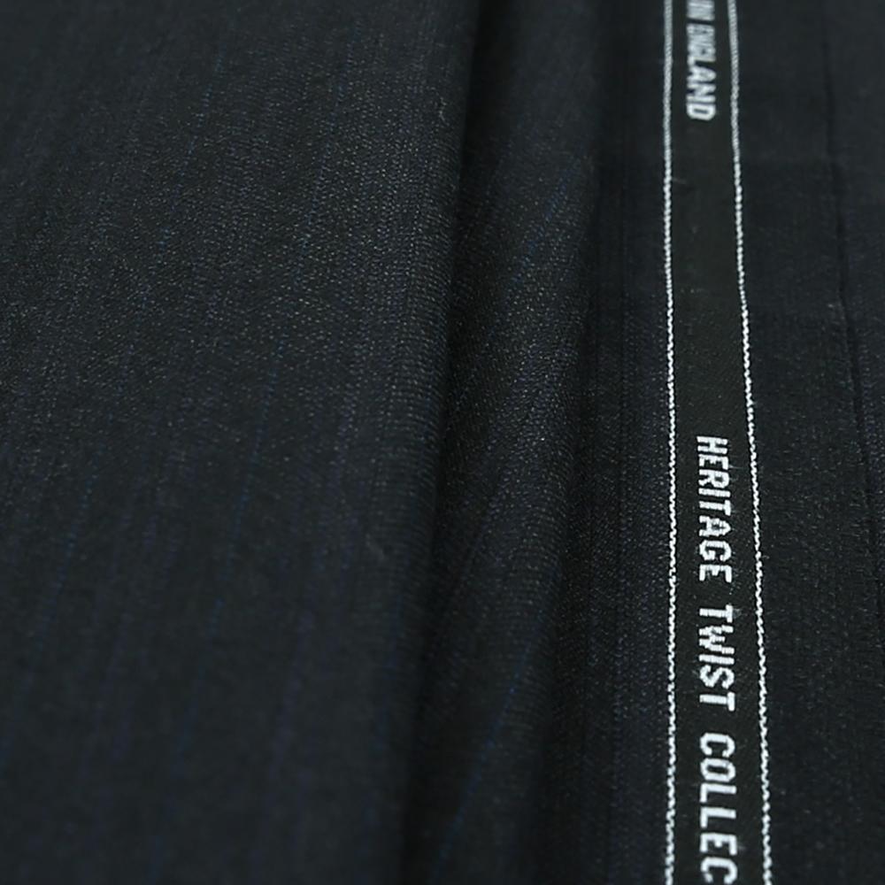 15013 Black Herringbone with Fancy Coloured Stripe