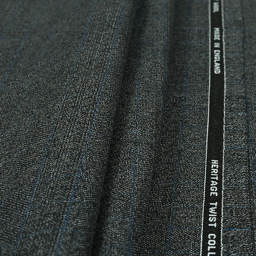 15020 Dark Grey Hopsack Glen Check with Blue Overcheck