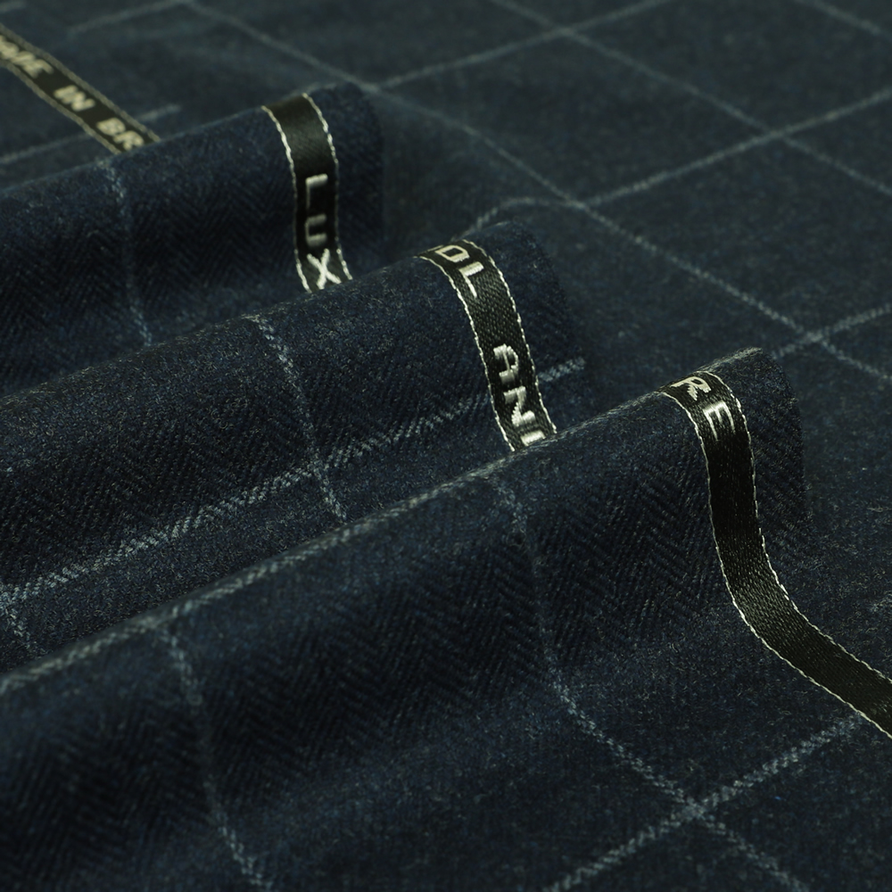 19035 Dark Blue Melange Herringbone with Light Blue Windowpane Check