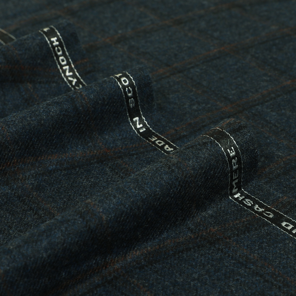 19041 Dark Blue Melange with Black and Brown Windowpane Check
