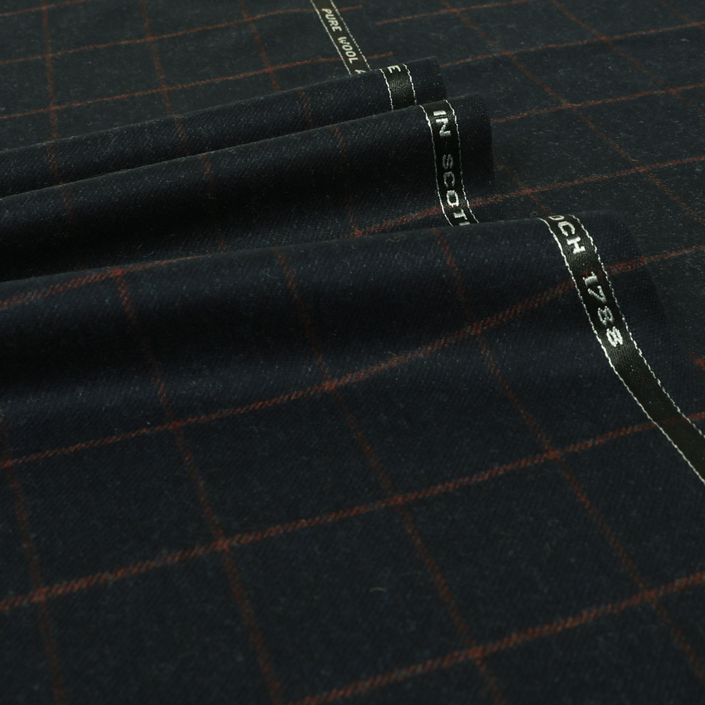 19043 Navy Blue Melange with Red Windowpane Check