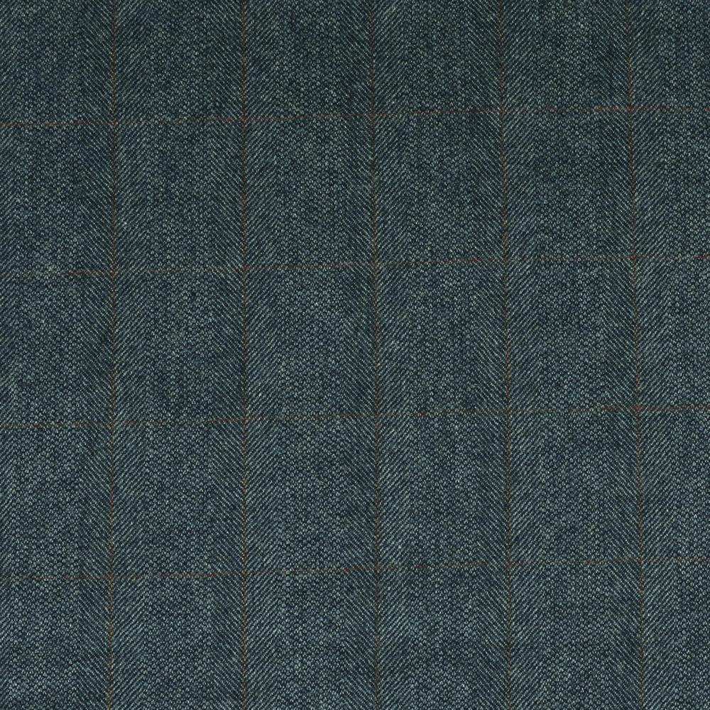 19050 Medium Blue Barley Corn Herringbone with Tan/Red Windowpane Check