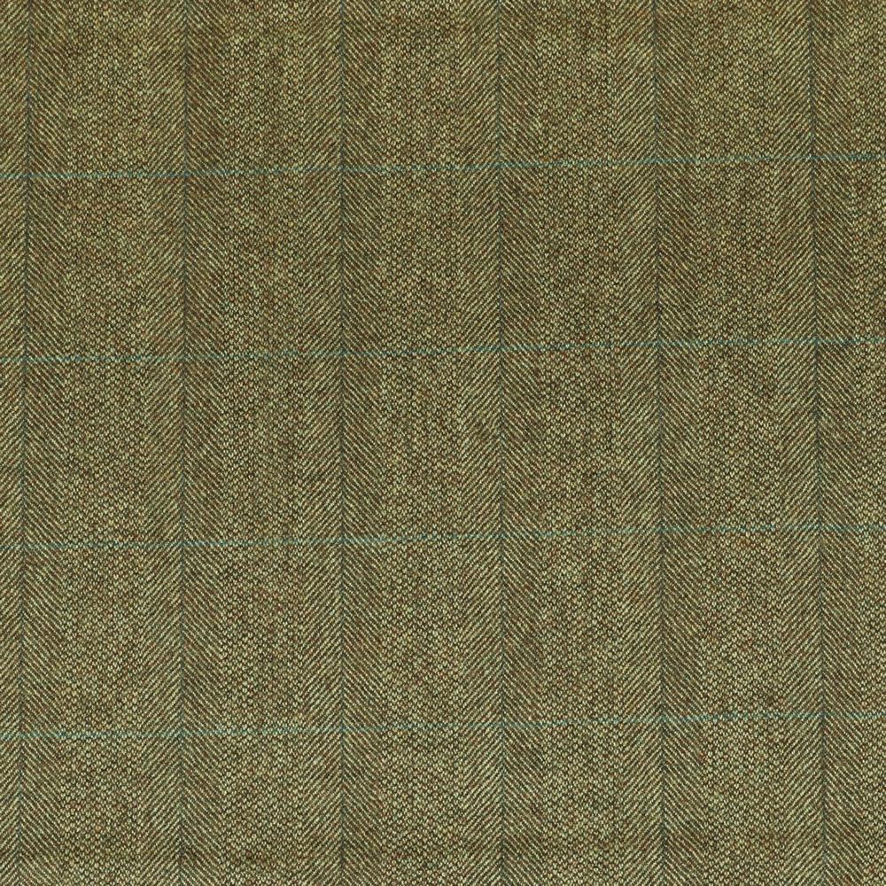 19051 Medium Brown Barley Corn Herringbone with Blue/Grey Windowpane Check
