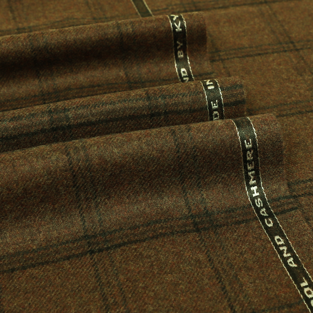 19052 Brown Melange with Black and Brown Windowpane Check