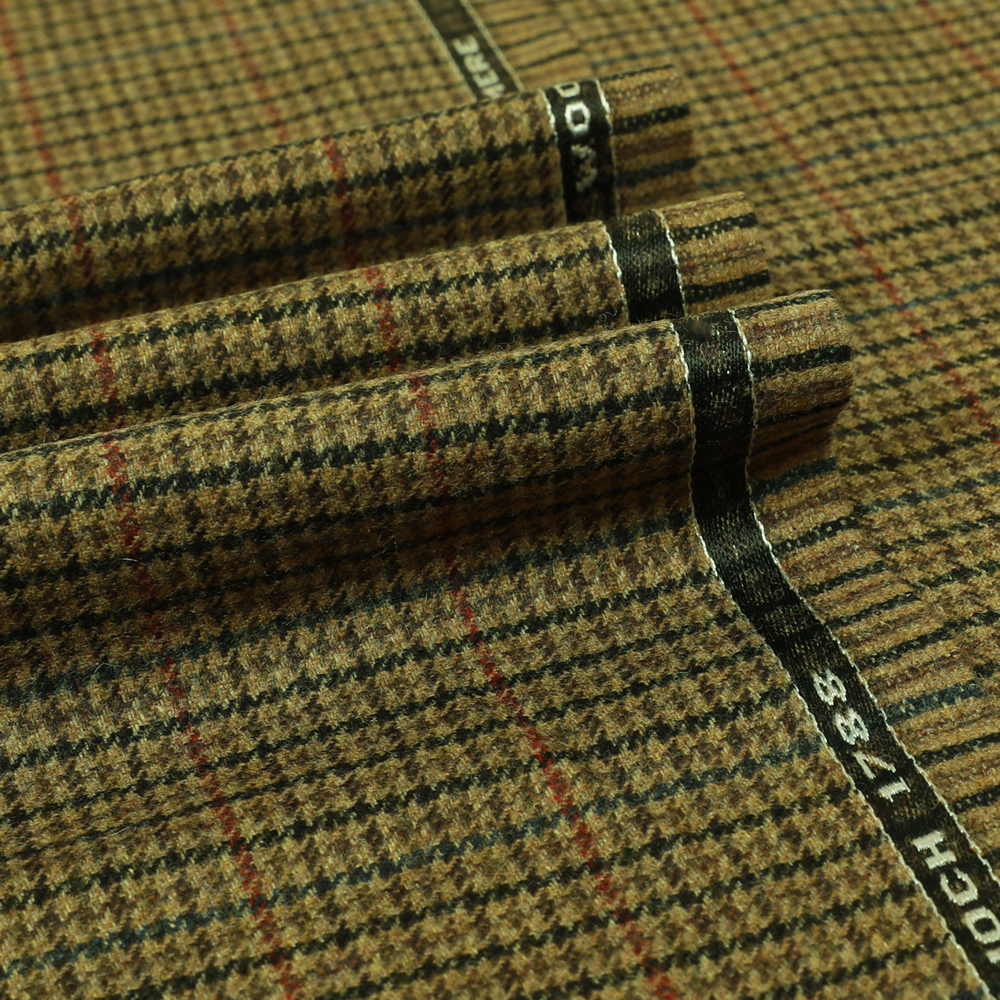19059 Tan Brown Gunclub Check with Red/Blue Windowpane Check
