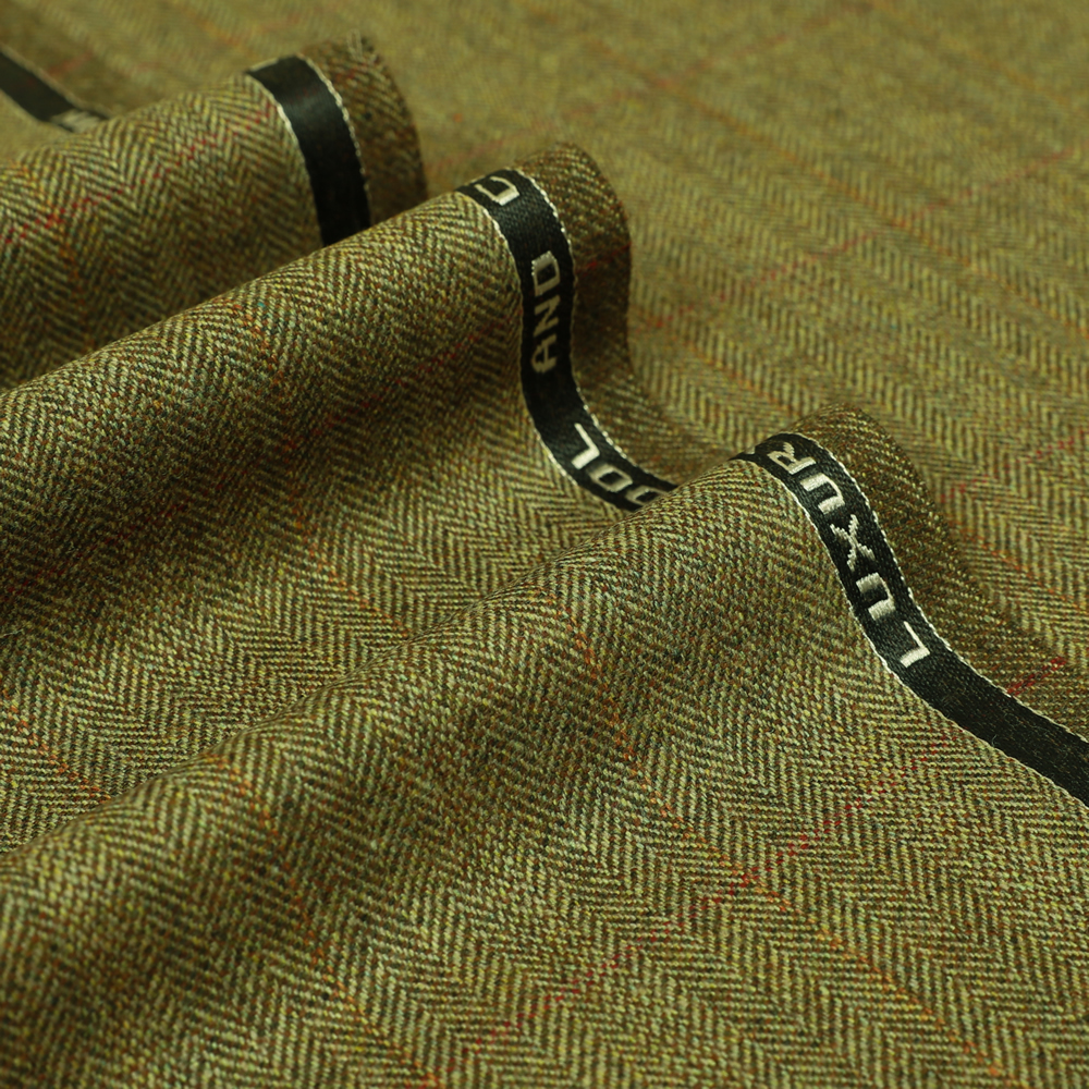 19060 Olive Brown Herringbone with Orange/Red Windowpane Check