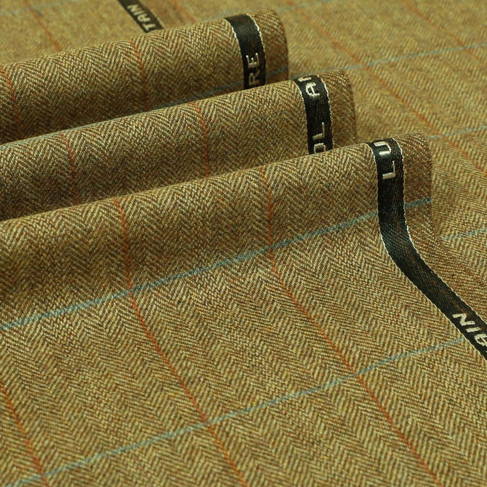 19061 Tan Brown Herringbone with Blue/Orange Windowpane