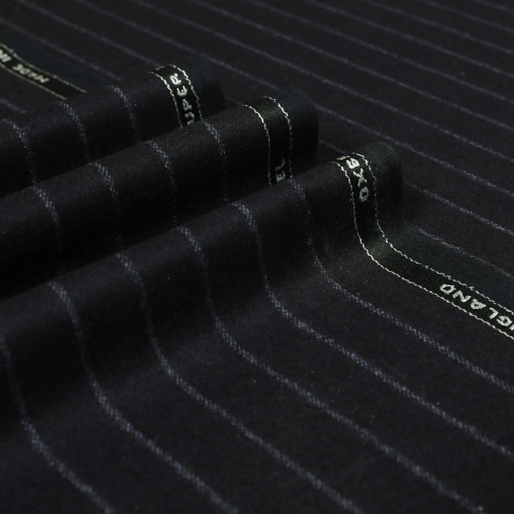 22001 Aubergine Purple Wide Chalk Stripe Flannel