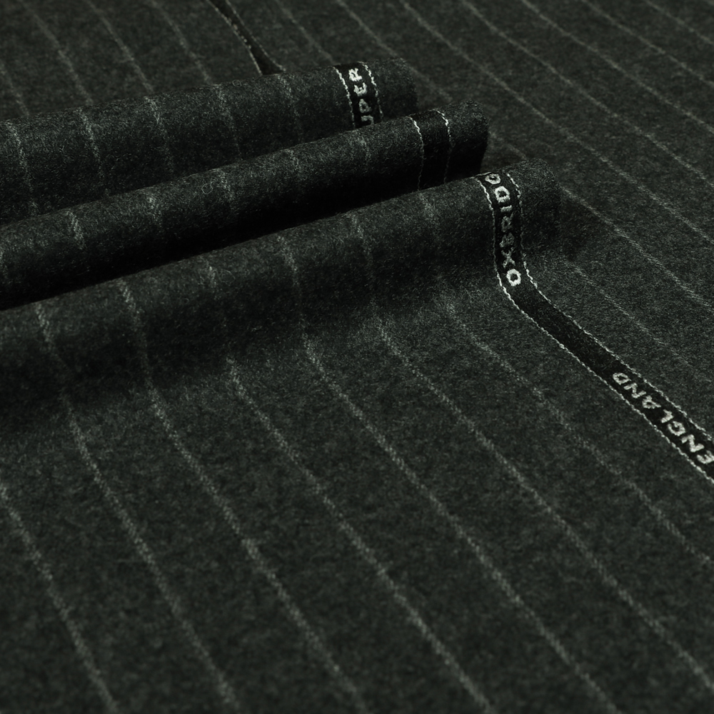 22003 Dark Grey Wide Chalk Stripe Flannel