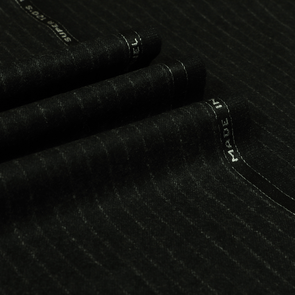 22007 Charcoal Grey Narrow Chalk Stripe Flannel