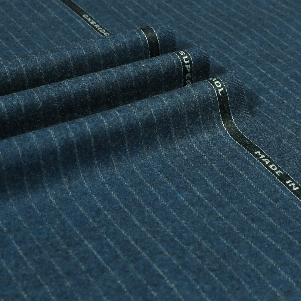 22008 Medium Blue Narrow Chalk Stripe Flannel