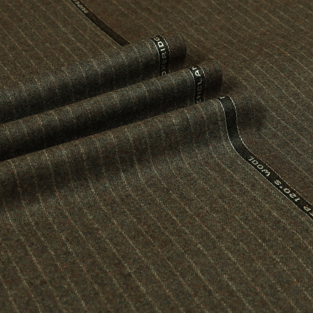 22012 Dark Beige Brown Narrow Chalk Stripe Flannel