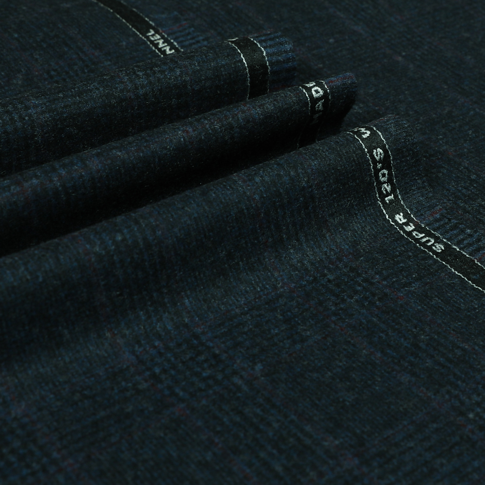 22041 Navy Blue Glen with Guarded Red Check Flannel