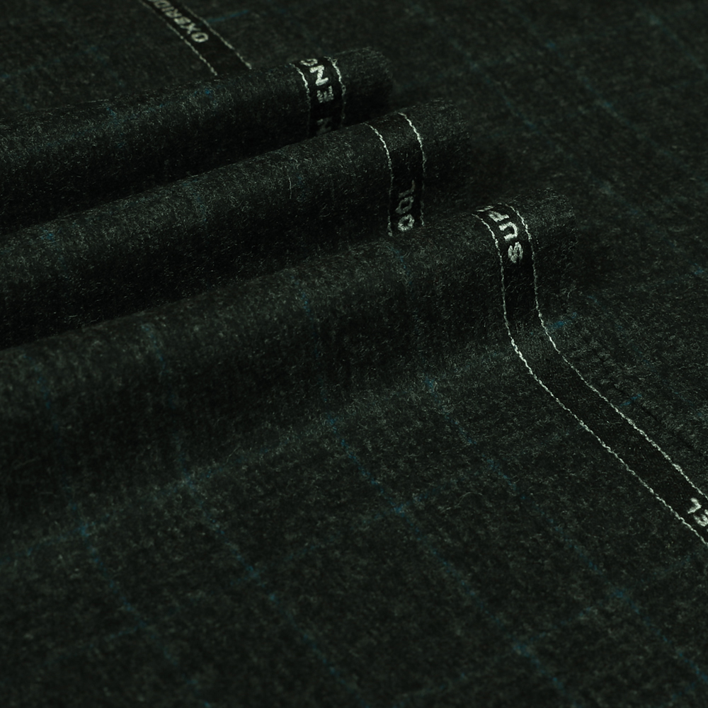 22042 Charcoal Grey Glen with Guarded Blue Check Flannel