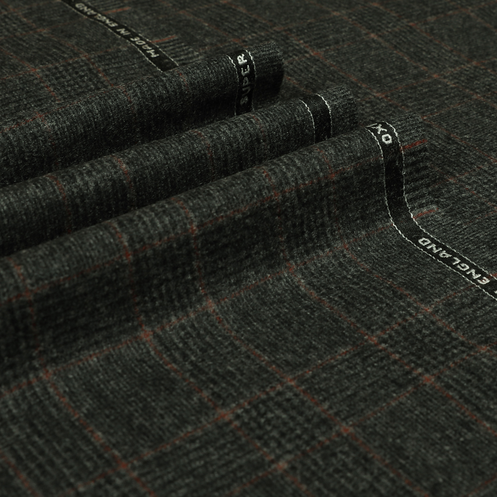 22043 Dark Grey Glen with Guarded Tan Check Flannel