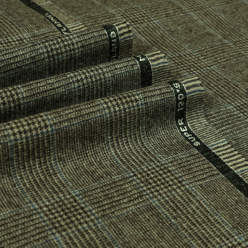 22044 Beige Brown Glen Check with Guarded Blue Check Flannel