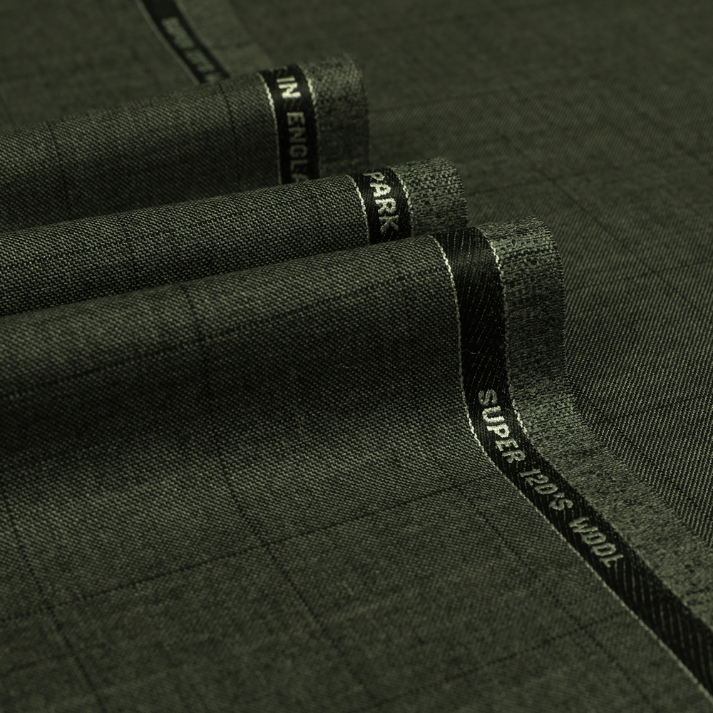 3073 Medium Grey Sharkskin with Black Windowpane Check