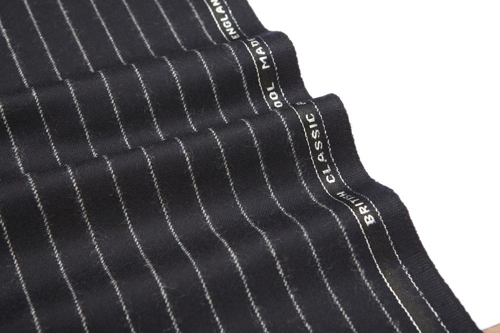 4036 Navy Blue Chalk Stripe Flannel