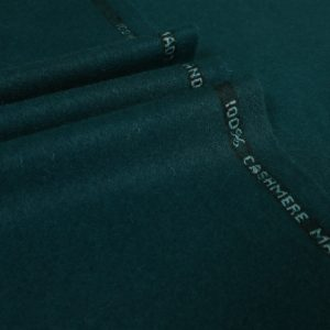 A 100% cashmere cloth in a dark forest green